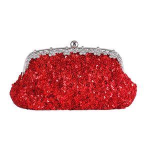 New Diamond Diamond Sequins Handbags Gorgeous Big Red Bridal Bag Simple Fashion Tote Wallet Evening Women's Crossbody Bag