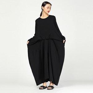 2019 Yeni Bahar Yaz Yuvarlak Boyun Uzun Kollu Yeşil Çizgili Bölünmüş Fold Gevşek Elbise Kadın Moda Gelgit Jo102