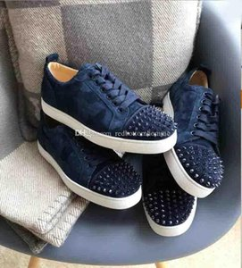 Summer Fall Casual Flat Spiked Shoes Red Bottom Junior Studded Sneaker Footwear Louisflat Junior Navy Blue Suede Leather Luxurouis Trainers