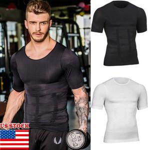 Homens Slimming Gym Shaper T-shirt corpo emagrecimento queima Shaping Muscle manga curta Black White Top Slim Fit T para homens 2019