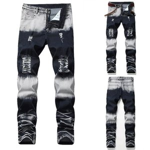 Mens Jeans Fashion Casual Style Pants Large Size Retro Patchwork Hole Male Ripped Jeans Pants Asian Size