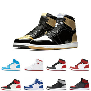 High Quality 1s men basketball shoes 1s sports sneakers gold top chicago black toe trainers fashion athletics size us 7-12