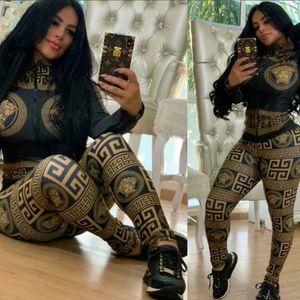 Envío Gratis 2019 Chándal Mujeres Moda Imprimir 2 Unidades Set Flaco Chándal Sporty Wear Casual Trajes Femeninos XXL