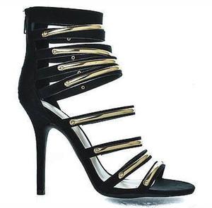 Nuevo sexy gamuza romana calado fino fino rhinestone súper tacón alto sandalias de mujer correa múltiple remaches aguja estilete de mujer