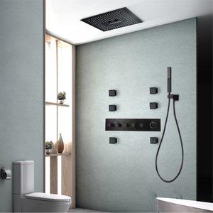 Teto Preto Banheiro Torneira Do Chuveiro 304 SUS Rainfall Showerhead LED Controle Remoto Cor Blacked Shower Set Termostato Corpo Jato