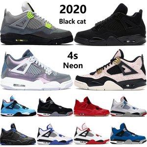 Gato preto novo 2020 4 4S tênis de basquete Jumpman criados asas encore Monsoon azul branco cimento tatuagem o que os homens das sapatilhas