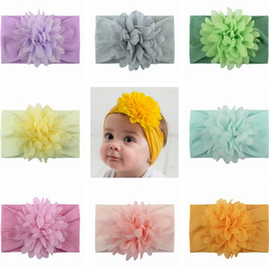 Baby Chiffon Flower Hairband Toddler Elastic Peony Flower Turban Baby Girl Big Floral Headband Solid Headwear Accessories 13 Color HHA1181