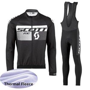 SCOTT 팀 겨울 열 양털 사이클링 저지 정장 남성 긴 소매 MTB 자전거 셔츠 턱받이 바지 세트 자전거 의류 스포츠 의류 K110703