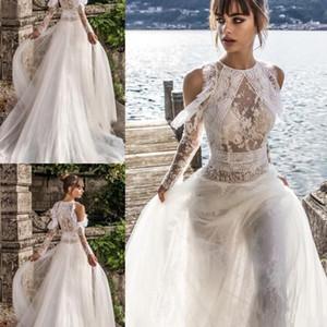 Julie Vino Bohemian Beach Brautkleider mit langärmliger Spitze Applique 2019 Jewel Neck Brautkleider Tüll Sweep Zug Boho Brautkleid