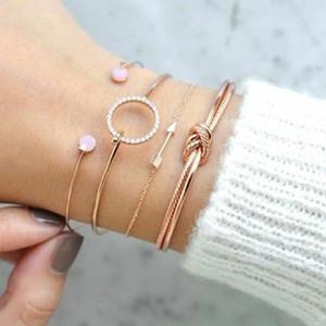 4 Stück / Set Klassische Pfeil Knoten runde Kristall Gem Cuffs Mehrschichtige Adjustable öffnen Armband Set Frauen Mode Partei Schmuck-Tropfen-Schiff