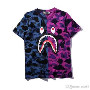 18ss Camisetas de diseñador para hombre Un baño Ae Ape Camisetas SHARK Cabeza Camo camiseta de algodón Camiseta deportiva HIP HOP Vetements cortos