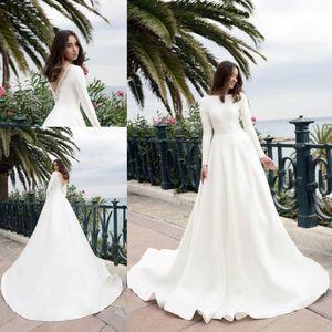 2019 raso molle Abiti da sposa a maniche lunghe Vintage con pulsante di abiti riflettenti Vestito di paillette perline in rilievo da sposa