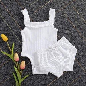 Bambino regola di neonate di estate dei vestiti a maglia casuale maniche Solid Button Outfits Halter pagliaccetto Ruffle Shorts 2pc Clothings