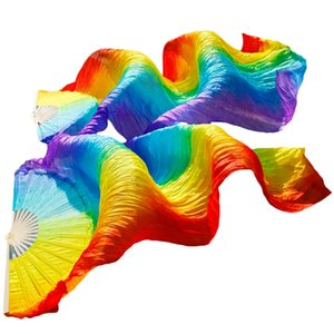 Handmade Women Quality Belly Dance Fan Dance 100% Real Silk Veil Rainbow Colors 180x70Cm