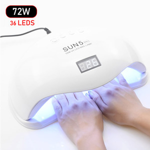 SUNX SUN5 72W UV Led Lamp unhas secador para todos os tipos Gel 36 Leds lâmpada UV para unhas Sun Light Infrared Sensoriamento inteligente Manicure