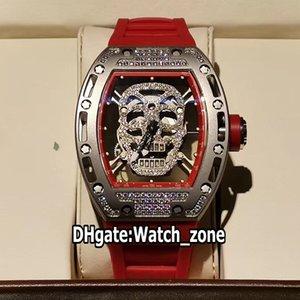 Lujo Nueva RM52-01 RM052 Diamond Dial esquelético del cráneo Miyota automático del reloj para hombre 052 Caso de acero del diamante rojo correa de caucho Relojes Watch_zone