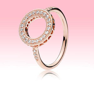 Pandora Gerçek 925 Gümüş Yaz Takı için Orijinal kutusu ile 18K Rose altın alyans Yüksek kaliteli Köpüklü Halo CZ elmas yüzük