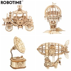 Robotime New Arrival DIY 3D Gramophone Box,Pumpkin Cart Wooden Puzzle Game Assembly Popular Toy Gift for Children Adult TG408 Y200704