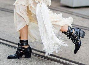 Noir Printemps Été Martin Botte Milieu En Cuir De Veau Bottes Chaussures Femmes De Luxe À Bout Pointu Talon Carré Bouclés Combat Booties Chaussures