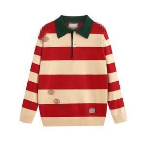 Vendita calda delle donne degli uomini di marca Cardigan Maglioni attivi casuale caldo del collare del turndown Button cappotto striscia di marca abiti top ricamato maglia
