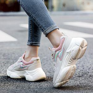 Новый Папа обувь розовые кроссовки женская обувь весна Новый толстым дном платформы кроссовки Узелок Женская обувь Женщина Zapatos De Mujer