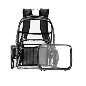 Clear Backpack for Girls Fit 15.6 pollici Laptop School Bag Bookbag per studenti in PVC trasparente multi-tasche zaino scuola fuori