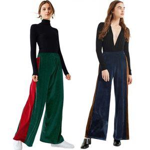 Femmes Sexy Ladies Palazzo Wide Leg taille haute long desserrées Pantalons simple Pantalons FASHION Nouveau