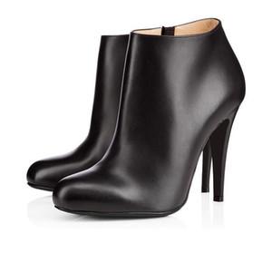 2020 Fashion luxury designer women girl boots high heels 8cm 10cm 12cm black red chestnut navy bottoms shoes leather winter boot9e86#