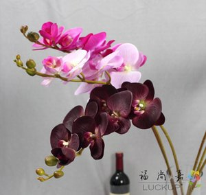 1 Tallo Real Touch Latex Artificial Moth Orchid Orchid Butterfly Orchid Flower para la nueva casa Home Wedding Festival Decoration F472