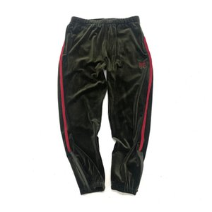 Mens Pants Needles 18FW Army Green velvet Leggings Sweatpants Butterfly Embroidery Side Stripes Trousers Hip Hop Fashion Long Pants Casual