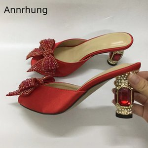 Jeweled Ruby Heel Party Shoes Woman Satin Open Toe Red Rhinestone Butterfly-knot High Heel Outwear Slippers Women
