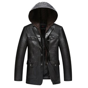 new Winter Men Leather Suede Jacket Fashion Brand Quality Fleece Lined Motorcycle Faux Leather Coats Male Outerwear BLACK