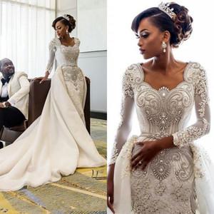Cristais africano mangas compridas Lace Mermaid Wedding Vestidos Pescoço da colher Lace Applique frisada Mais de vestidos de noiva casamento Saias Tribunal Trem