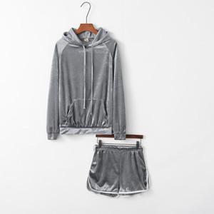 Spor Takımları Katı Renk 2PC Tracksuits İlkbahar Sonbahar Tasarımcı Kapşonlu Yaka Kısa Pantolon Suits Dişiler Gevşek Womens