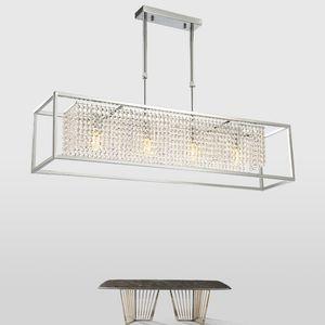 Rettangolo illuminazione lampadario di cristallo moderno per vivere ding stanza di cristallo lampada isola cucina camera cromo appendere lampadari