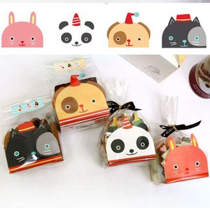 50pcs Plastic Biscuit Cookie Candy Bag Baking Packs Cute Dog Cat Pattern Packaging for Cookies Birthday Christmas Gift Bag