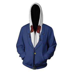 애니메이션 탐정 코난 코스프레 후드 지퍼 후드 스웨터 패션 코난 의류 재킷 유니폼 탑