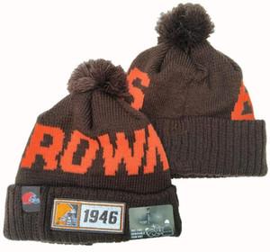 Top Qualtiy Cleveland gorro casquette gorros Sideline tempo frio reversa Esporte Hat Knit Cuffed com Pom Crânio Winer Caps 05