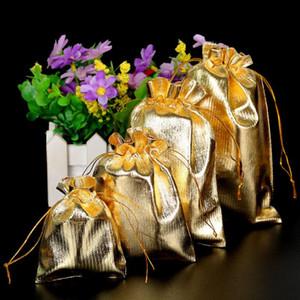 Argent / Or Couleur métallique Feuille organza Pouches de soirée de mariage de Noël Cadeaux Favor Bonbons Sacs 7X9 / 9X12 / 10X15 / 13x18cm