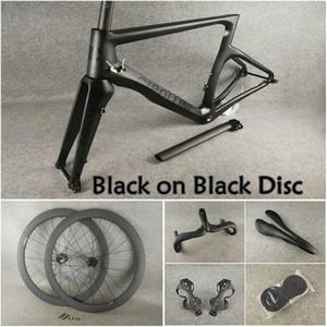 Noir sur noir BoB T1100 3K cadres de disque en carbone mat NK1K Disc + supports de guidon en carbone Cipollini selle Porte-bouteille