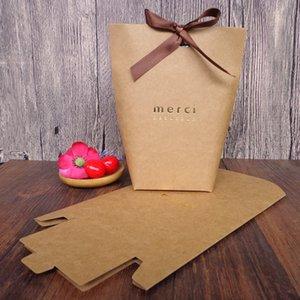 """블랙 화이트 20 개 크래프트 종이 가방 Bronzing 프랑스어 """"Merci""""감사합니다 선물 상자 패키지 웨딩 파티 호의 사탕 가방 리본"""