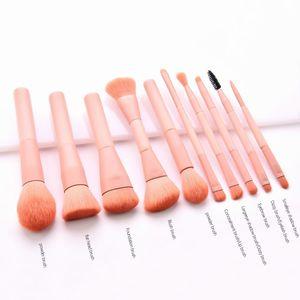 10 pcs Set Pink Make up Eyeshadow Blush Nylon Fiber Cosmetic Base Powder Paint Foundation Brushes Set Makeup Beauty Tools NEW
