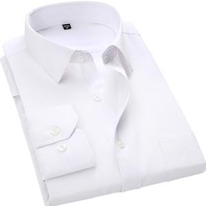 4XL 5XL 6XL 7XL 8XL большой размер мужская бизнес повседневная рубашка с длинными рукавами белый синий черный умный мужской социальной Платье рубашка плюс C18122701