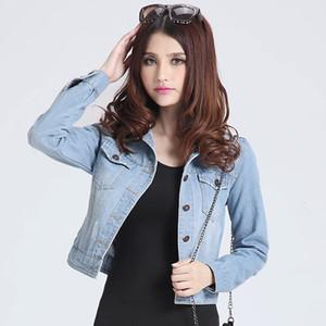 Womens jaquetas casacos 2019 moda primavera calça jeans jaquetas jeans Mulheres algodão fino Jacket sólida para mulheres senhoras Casacos Casacos T190919