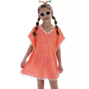 One Piece Beach Loose Swimming Ups For Girls kid Cover Up Dress saida de praia Y200706