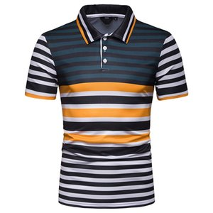 Mens nueva llegada verano manga corta Camisas Polos contraste color rayas moda masculina slim fit Camisas