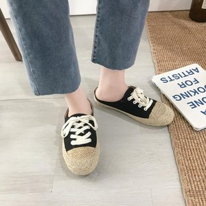 Spring 2020 new round head lace-up canvas shoes stitching casual student wild comfortable lazy fisherman shoes