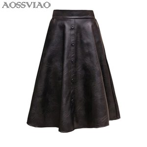 Aossviao 2019 New Spring Women Skirt Fashion Pu Leather Skirt High Waist Pleated Swing Vintage Maxi Skirt Saias Plus Size Y19043002