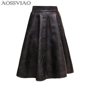 Aossviao 2019 New Spring Women Skirt Fashion PU Gonna in pelle a vita alta a pieghe altalena Vintage Maxi gonna Saias Plus Size Y19043002