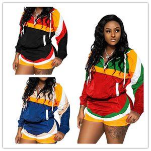 Mujeres Color Block Chándal Verano Ropa a prueba de sol Remiendo de manga larga Tops con capucha + Shorts 2 unids Set Casual Sports Outfit 2019 A41109